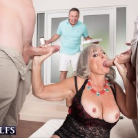 Hot granny Janee Diamond sucks on a BBC after exposing her big boobs