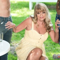 Over 60 MILF Mia Magnusson seduces a couple of shirtless younger men