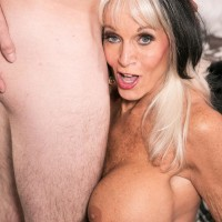 Mature 60 plus MILF Cara Reid flashing big tits