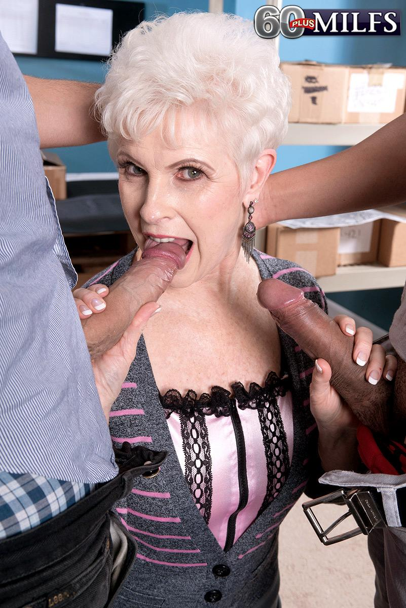Over 60 older XXX flick starlet Jewel blowing hefty dicks during interracial MMF