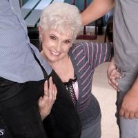 Over 60 older XXX flick starlet Jewel blowing hefty dicks during interracial MMF