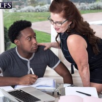 Over Sixty woman Maria Fawndeli tempts a younger black stud while tutoring him
