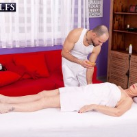 Red haired nan Caroline Hamsel gets fucked by her masseuse during a massage