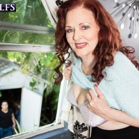 Redhead MILF over 60 Katherine Merlot baring immense floppy fun bags for nipple play