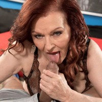 Redheaded 60 plus MILF call girl Katherine Merlot providing massive cock HJ and oral job