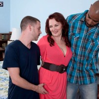 Redheaded grandma Katherine Merlot letting out giant booty before bi-racial MMF three-way