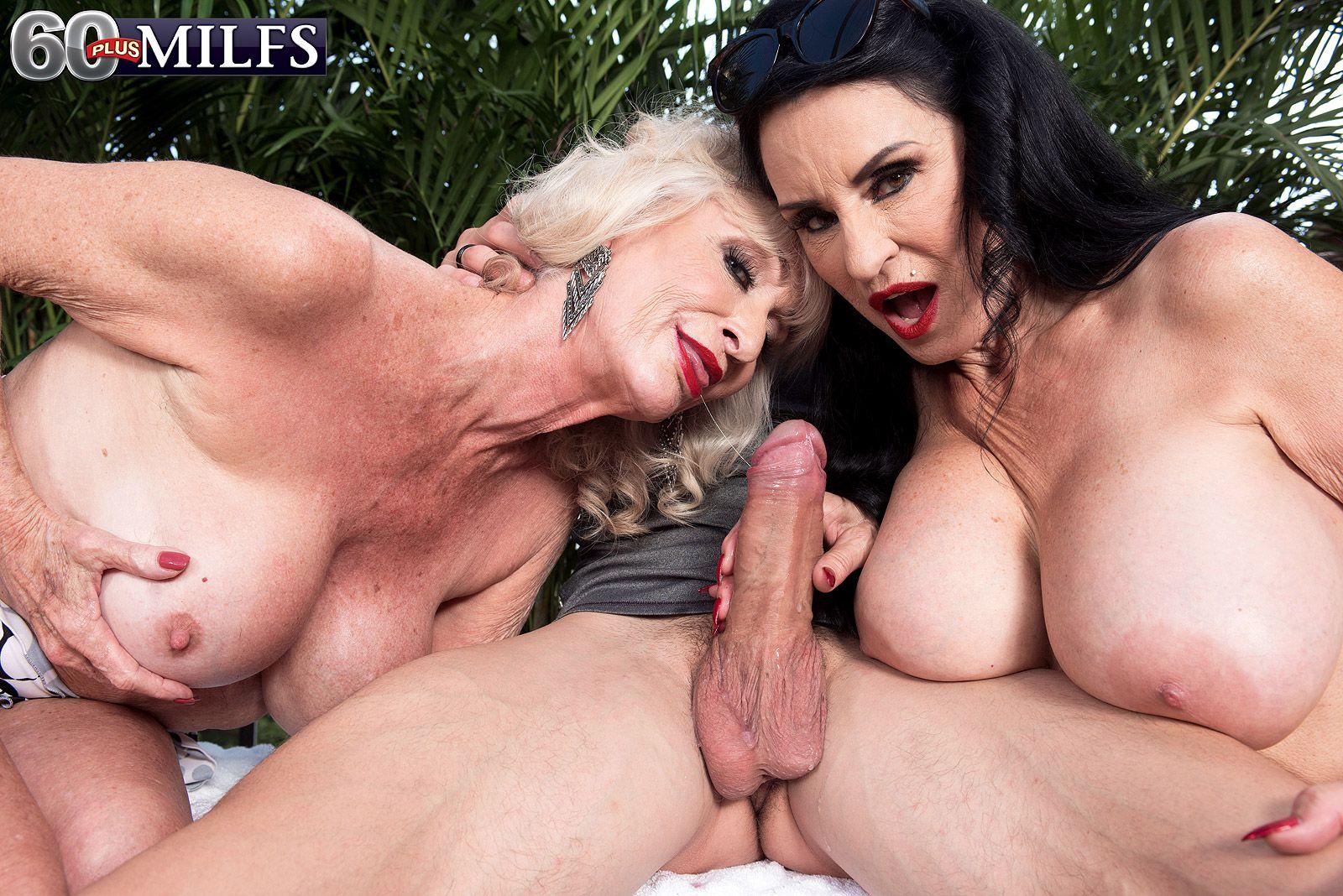 Mature pornstar Rita Daniels and her granny gf jerk and suck a young guy