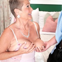 Round granny Joanne Price extracting monster-sized boobies before giving immense penis oral job in hosiery