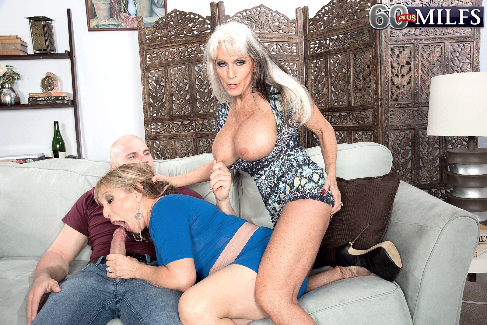 Hot 60 plus ladies Sally D'Angelo and Luna Azul suck off a large dick togther