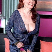 Sandy-haired grandmother Katherine Merlot revealing immense all natural titties to entice sex