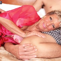 Seventy plus GILF Sandra Ann flaunting amazing legs and rump before hard-core sex