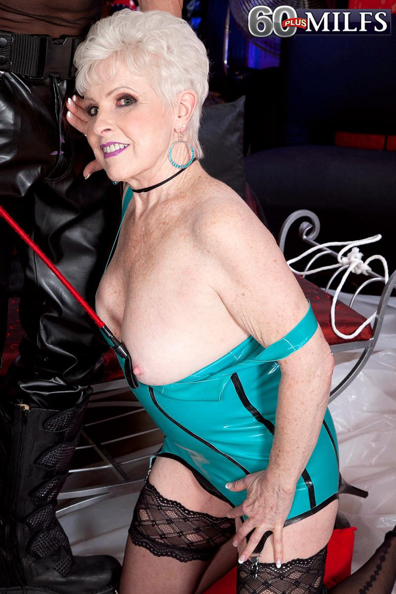 Short haired grandmother Jewel enjoying XXX Domination AND submission sex in spandex dress and hosiery