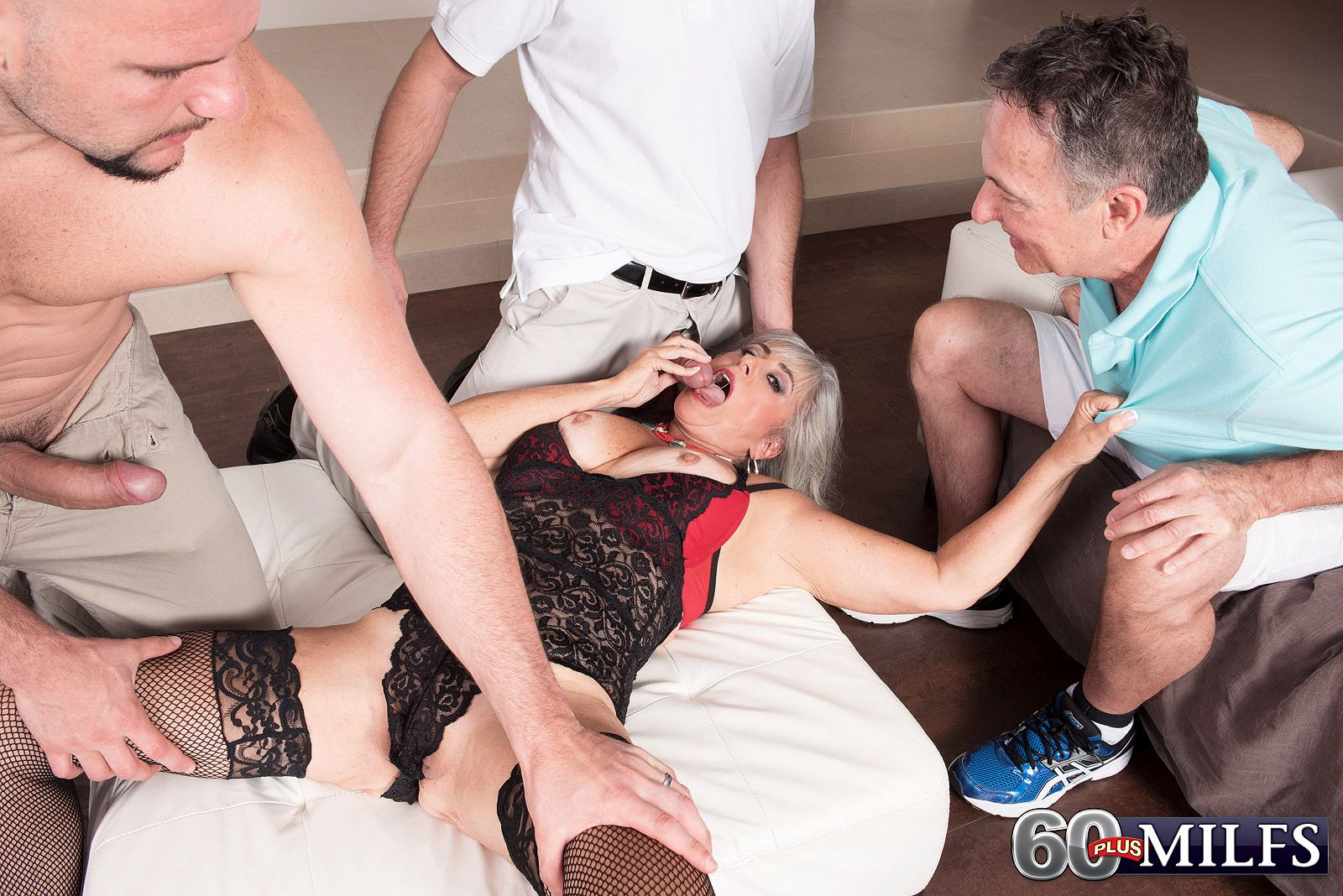 Mature MILF Silva Foxx blows 2 big white dicks to her cuckolded hubby's dismay