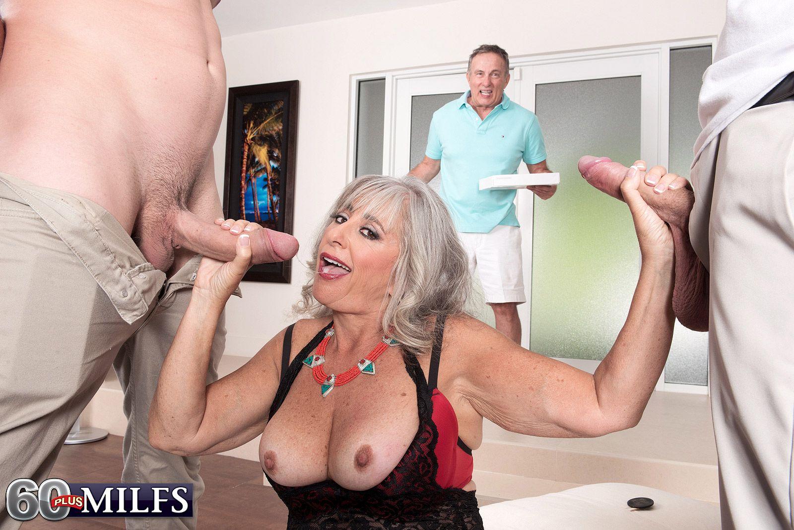 Mature MILF Silva Foxx blows 2 big white dicks to her cuckolded hubby's dismay