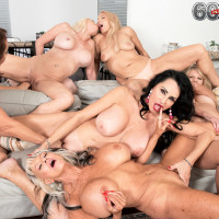Sixty plus MILF Mia Magnusson gathers her girlfriends for an all chick fuck-fest