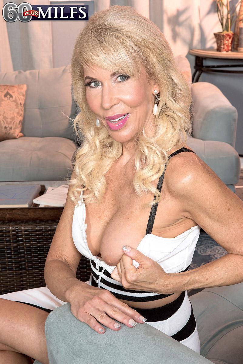 Spindly over 60 platinum-blonde MILF Erica Lauren loosing enormous older knockers and trimmed snatch
