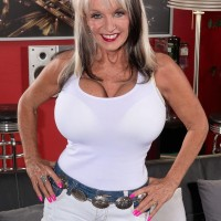 Spindly Sixty plus MOTHER Sally D'Angelo baring immense aged funbags before wanking hard-on
