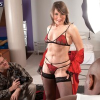 Stocking and lingerie outfitted MILF over Sixty Donna Davidson having multiracial MMF