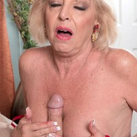 Granny Jeannie Lou sucks and fucks two cocks in pantyhose and heels